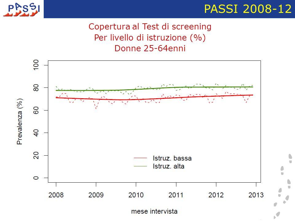 Copertura al Test di screening Per livello di istruzione (%) Donne 25-64enni PASSI 2008-12
