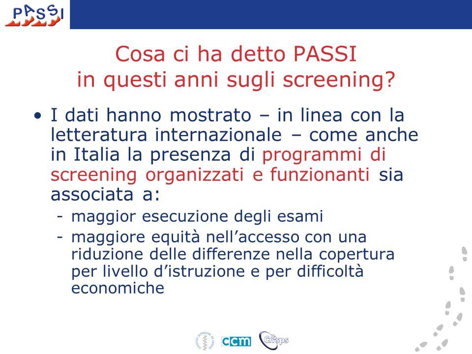 Cosa ci ha detto PASSI in questi anni sugli screening.