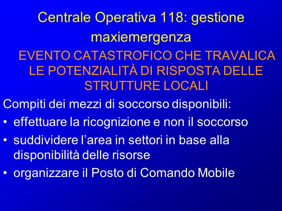 Centrale Operativa 118: gestione maxiemergenza EVENTO CATASTROFICO CHE TRAVALICA LE POTENZIALITÀ DI RISPOSTA DELLE STRUTTURE LOCALI Attivazione della catena straordinaria dei soccorsi sanitari : - UMMC (Unità Mobili Medico Chirurgiche) - OSPEDALI CAMPALI