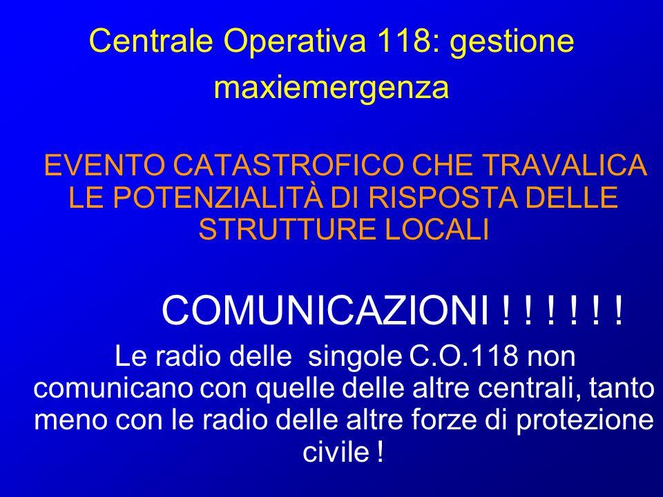 Centrale Operativa 118: gestione maxiemergenza EVENTO CATASTROFICO CHE TRAVALICA LE POTENZIALITÀ DI RISPOSTA DELLE STRUTTURE LOCALI COMUNICAZIONI ! !