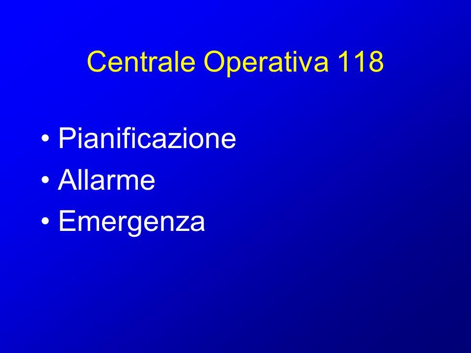Centrale Operativa 118 Pianificazione Preventiva conoscenza dei rischi e definizione degli scenari Definizione di procedure condivise con le altre forze di p.c.