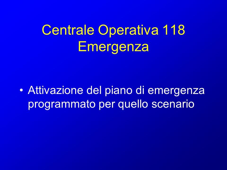 Centrale Operativa 118: gestione maxiemergenza Scenari ipotizzati: evento catastrofico ad effetto limitato evento catastrofico che travalica le potenzialità di risposta delle strutture locali