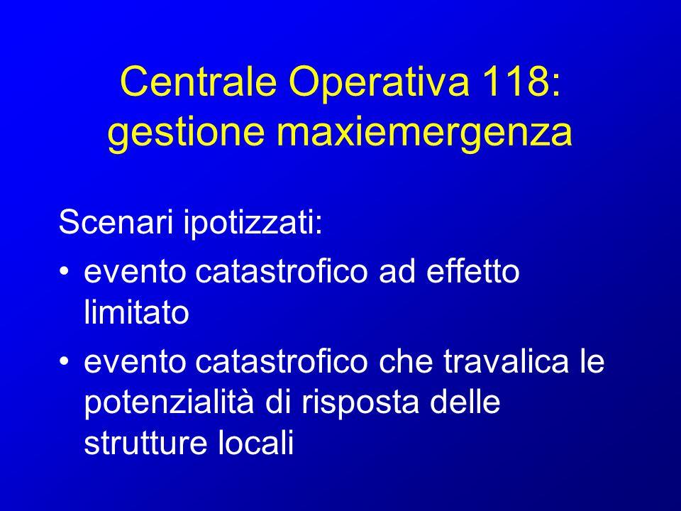 Centrale Operativa 118: gestione maxiemergenza evento catastrofico ad effetto limitato: integrità delle strutture di soccorso esistenti sul territorio limitata estensione nel tempo delle operazioni di soccorso (12 h)