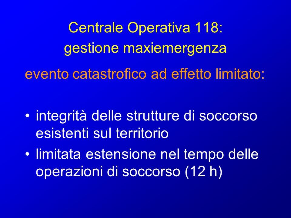 Centrale Operativa 118: gestione maxiemergenza evento catastrofico ad effetto limitato: attivazione piano di emergenza interno alla C.O.
