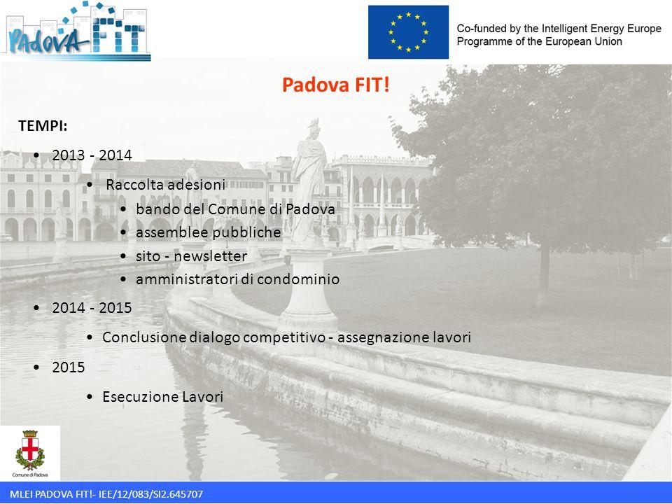 MLEI PADOVA FIT!- IEE/12/083/SI2.645707 TEMPI: 2013 - 2014 Raccolta adesioni bando del Comune di Padova assemblee pubbliche sito - newsletter amminist