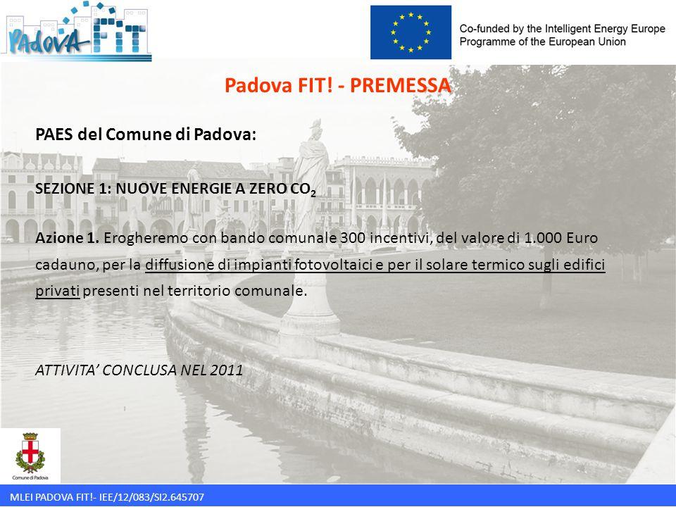 MLEI PADOVA FIT!- IEE/12/083/SI2.645707 PAES del Comune di Padova: SEZIONE 1: NUOVE ENERGIE A ZERO CO 2 Azione 1. Erogheremo con bando comunale 300 in