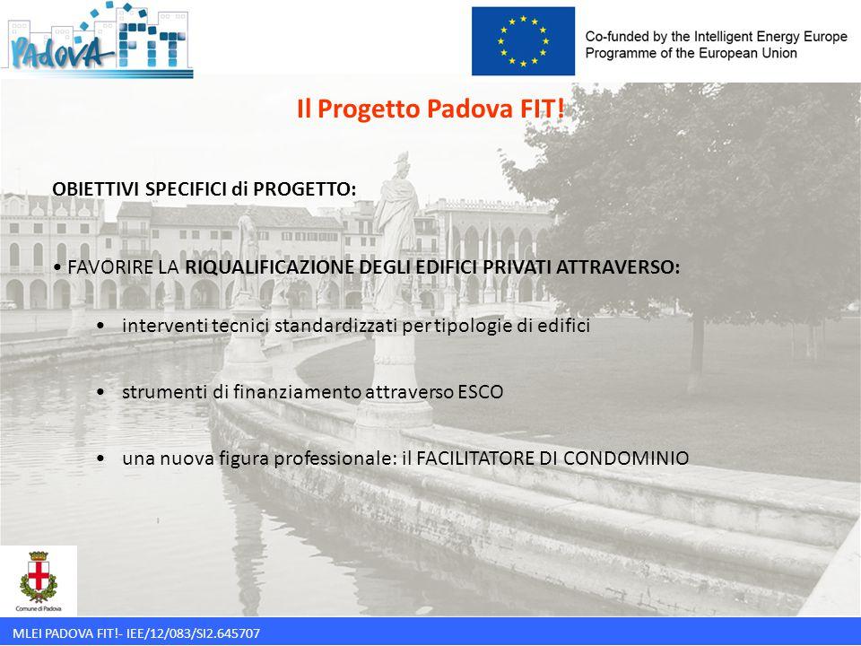 MLEI PADOVA FIT!- IEE/12/083/SI2.645707 OBIETTIVI SPECIFICI di PROGETTO: FAVORIRE LA RIQUALIFICAZIONE DEGLI EDIFICI PRIVATI ATTRAVERSO: interventi tec