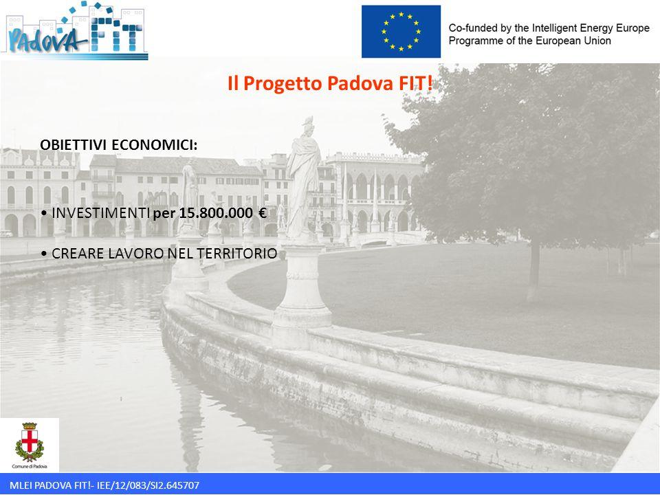 MLEI PADOVA FIT!- IEE/12/083/SI2.645707 Il Progetto Padova FIT! OBIETTIVI ECONOMICI: INVESTIMENTI per 15.800.000 € CREARE LAVORO NEL TERRITORIO