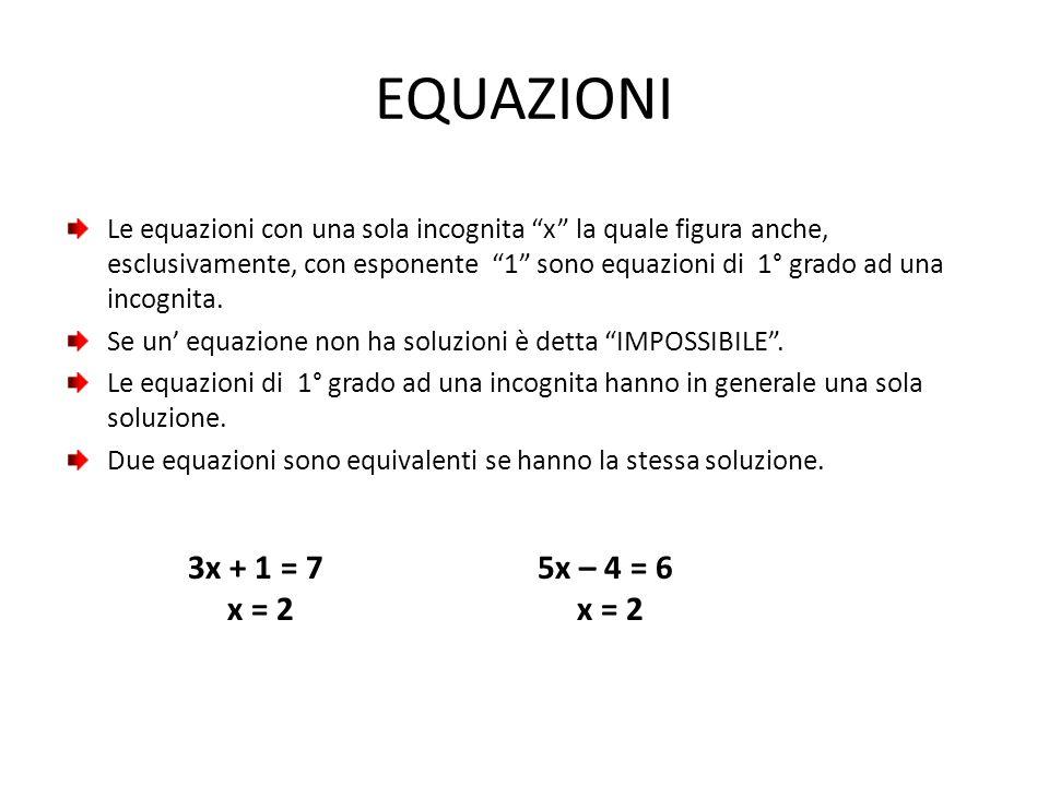 EQUAZIONI Es: 6x + 3 = 4x + 15 ; 2x = 12 x = 6 x = 6 Le due equazioni precedenti sono equivalenti, ma la seconda è più semplice.