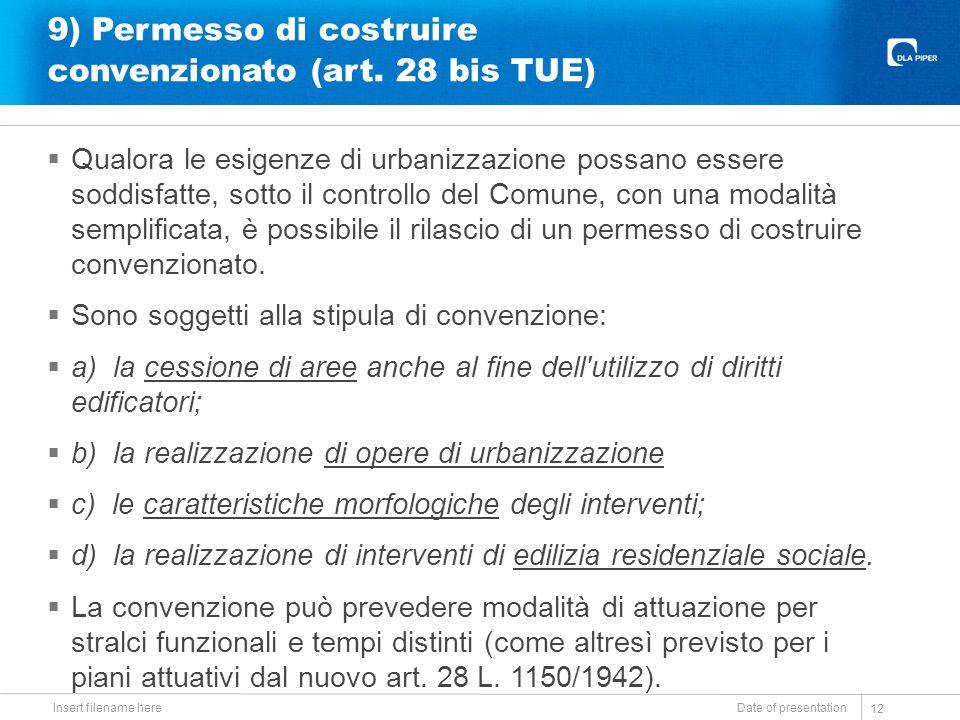 9) Permesso di costruire convenzionato (art. 28 bis TUE)  Qualora le esigenze di urbanizzazione possano essere soddisfatte, sotto il controllo del Co