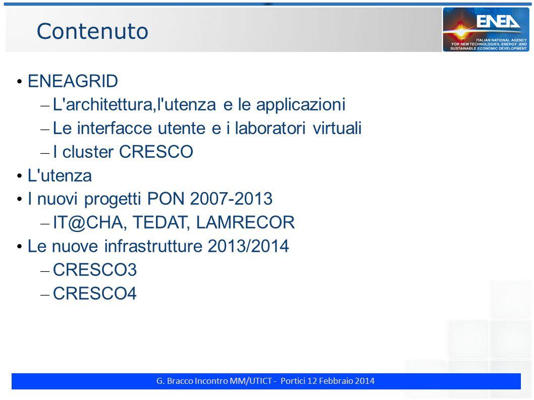 G. Bracco Incontro MM/UTICT - Portici 12 Febbraio 2014 Contenuto ENEAGRID – L'architettura,l'utenza e le applicazioni – Le interfacce utente e i labor