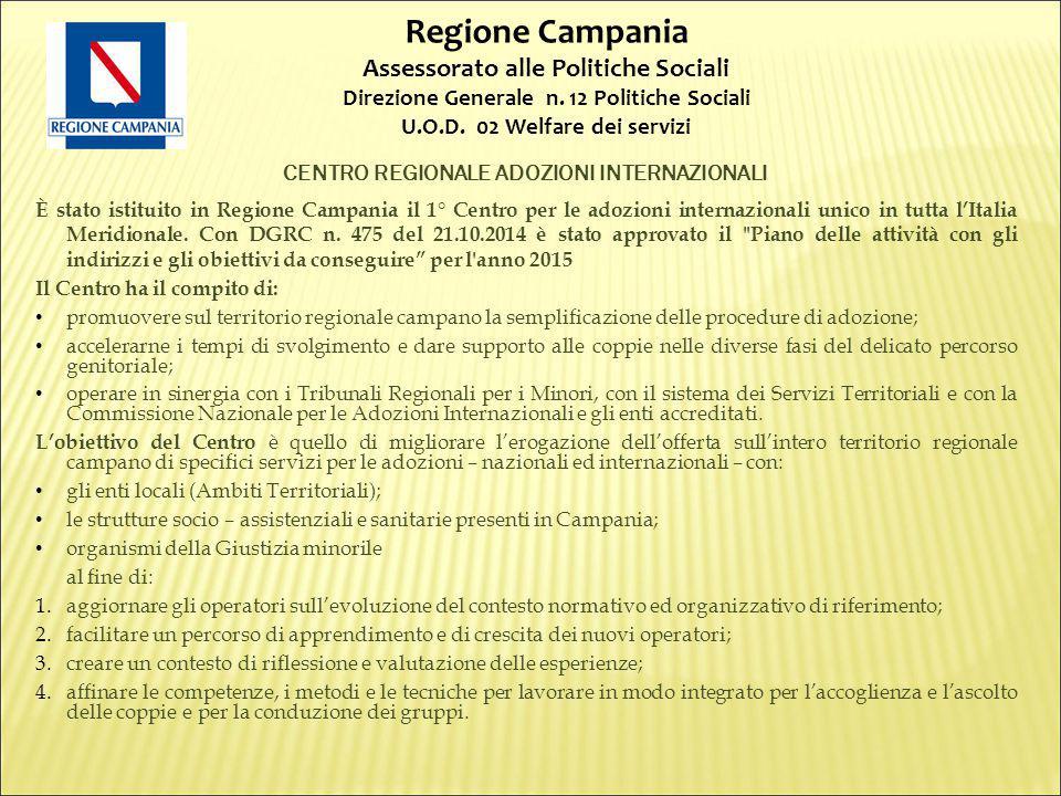 CENTRO REGIONALE ADOZIONI INTERNAZIONALI È stato istituito in Regione Campania il 1° Centro per le adozioni internazionali unico in tutta l'Italia Meridionale.