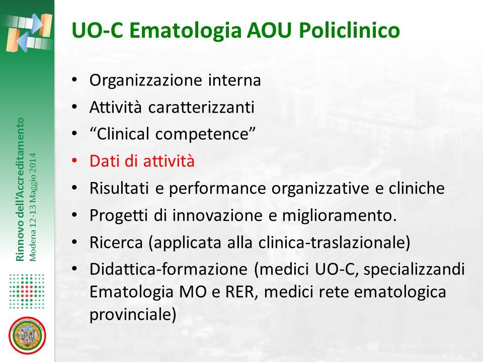 """Rinnovo dell'Accreditamento Modena 12-13 Maggio 2014 UO-C Ematologia AOU Policlinico Organizzazione interna Attività caratterizzanti """"Clinical compete"""