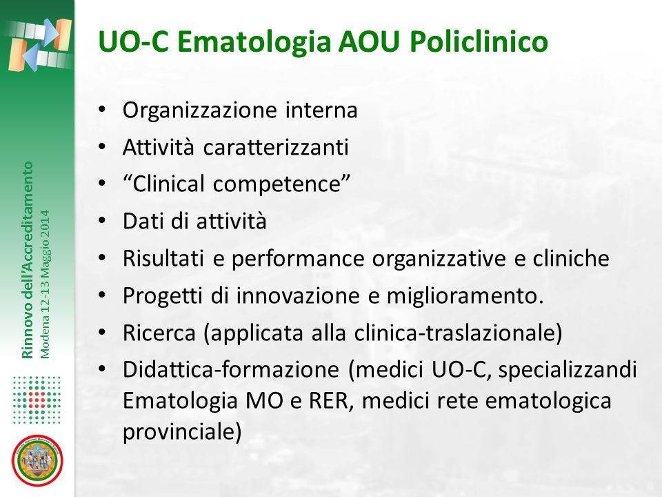 Rinnovo dell'Accreditamento Modena 12-13 Maggio 2014 Attività trapiantologica del P-TMO (1995-2013) (PDTA TMO, pag.