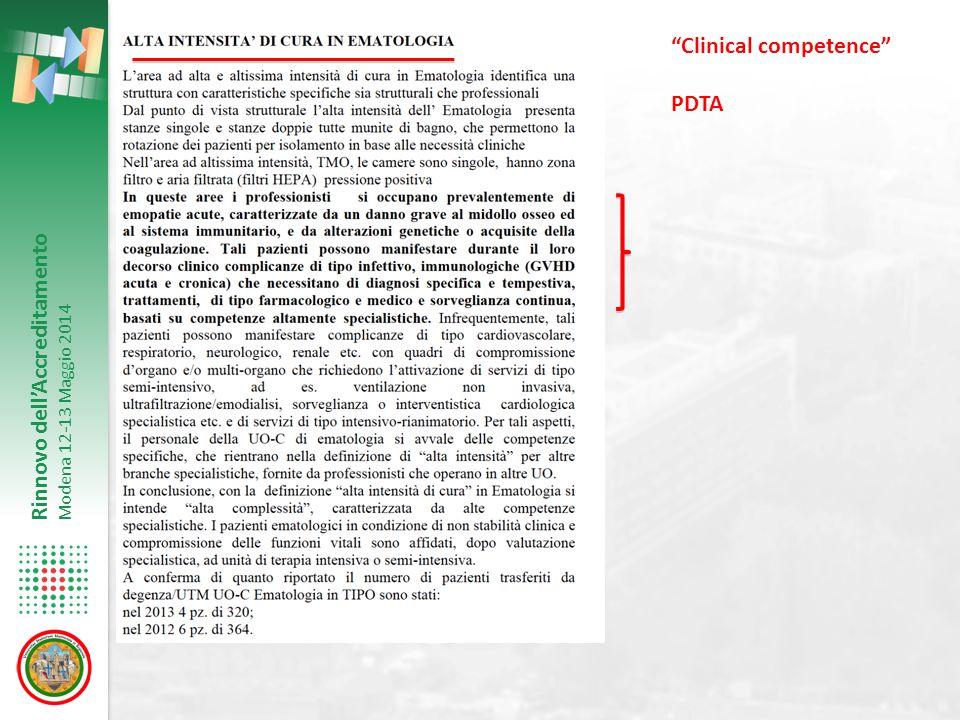 """Rinnovo dell'Accreditamento Modena 12-13 Maggio 2014 """"Clinical competence"""" PDTA"""