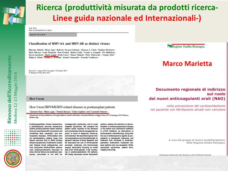 Rinnovo dell'Accreditamento Modena 12-13 Maggio 2014 Ricerca (produttività misurata da prodotti ricerca- Linee guida nazionale ed Internazionali-) Marco Marietta