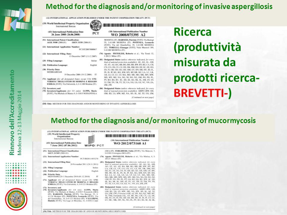 Rinnovo dell'Accreditamento Modena 12-13 Maggio 2014 Method for the diagnosis and/or monitoring of invasive aspergillosis Method for the diagnosis and