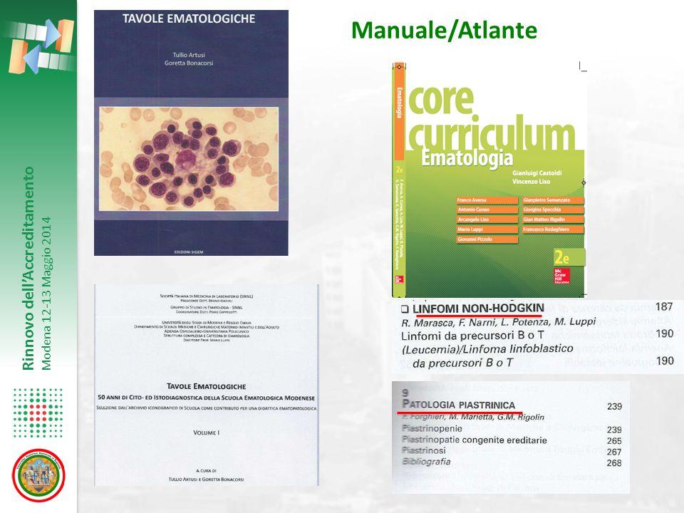 Rinnovo dell'Accreditamento Modena 12-13 Maggio 2014 Manuale/Atlante