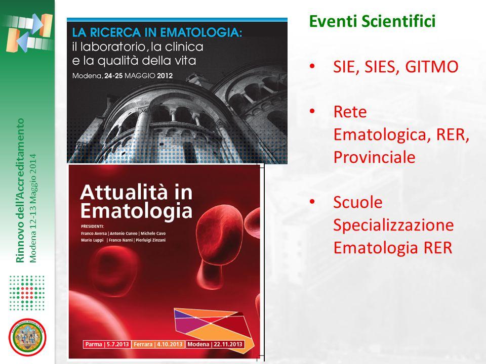 Rinnovo dell'Accreditamento Modena 12-13 Maggio 2014 Eventi Scientifici SIE, SIES, GITMO Rete Ematologica, RER, Provinciale Scuole Specializzazione Em