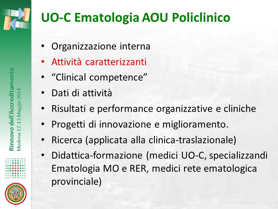 Rinnovo dell'Accreditamento Modena 12-13 Maggio 2014 Avviato Tali progetti di UO-C Ematologia sono funzionali e definzione ed implementazione del progetto DAI 4 di riorganizzazione assistenziale per intensità di cure.