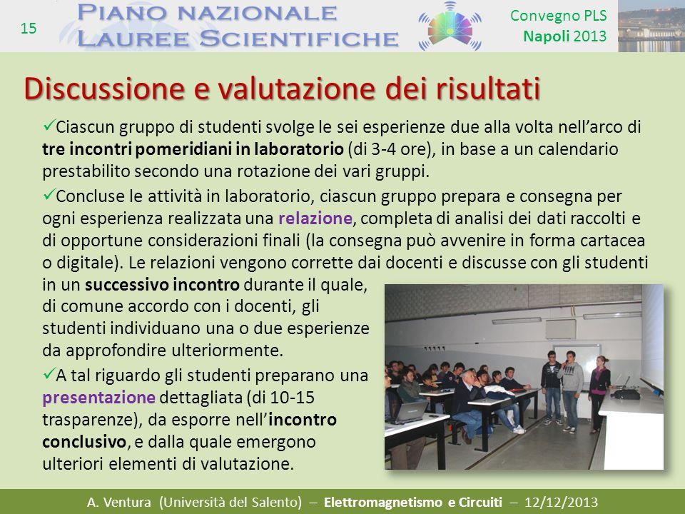 A. Ventura (Università del Salento) – Elettromagnetismo e Circuiti – 12/12/2013 Convegno PLS Napoli 2013 15 Ciascun gruppo di studenti svolge le sei e