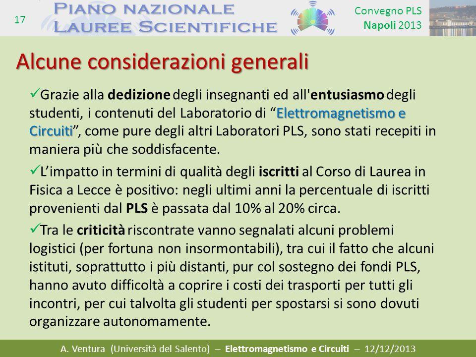 A. Ventura (Università del Salento) – Elettromagnetismo e Circuiti – 12/12/2013 Convegno PLS Napoli 2013 17 Elettromagnetismo e Circuiti Grazie alla d