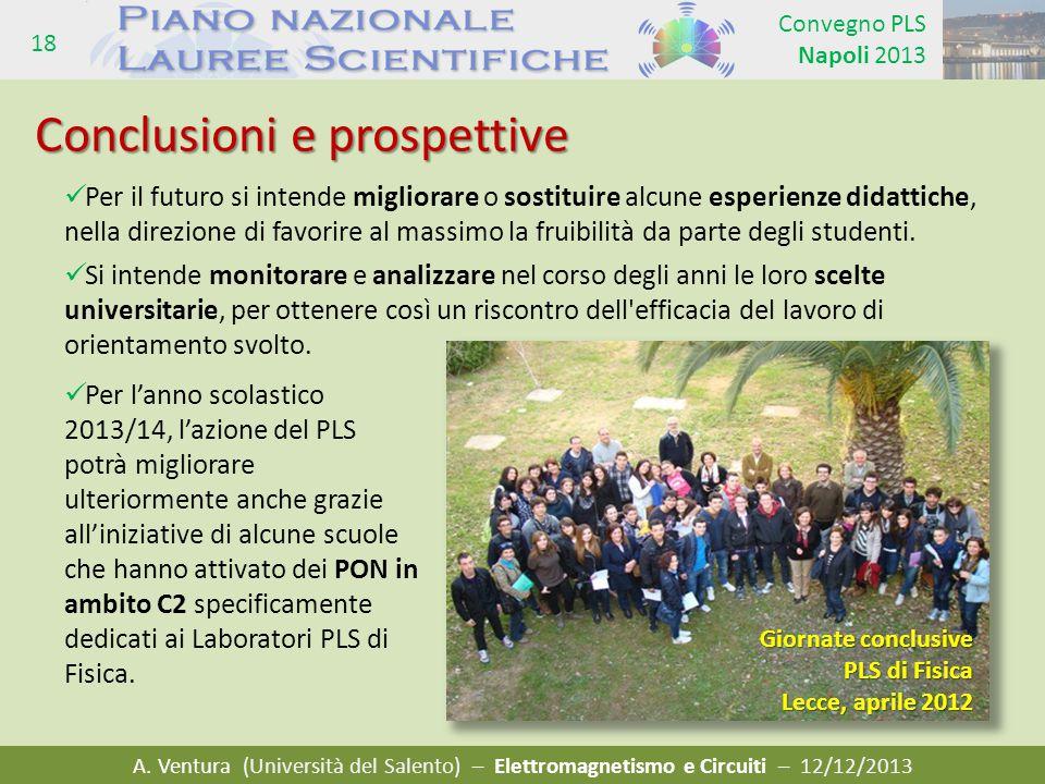 A. Ventura (Università del Salento) – Elettromagnetismo e Circuiti – 12/12/2013 Convegno PLS Napoli 2013 18 Per il futuro si intende migliorare o sost