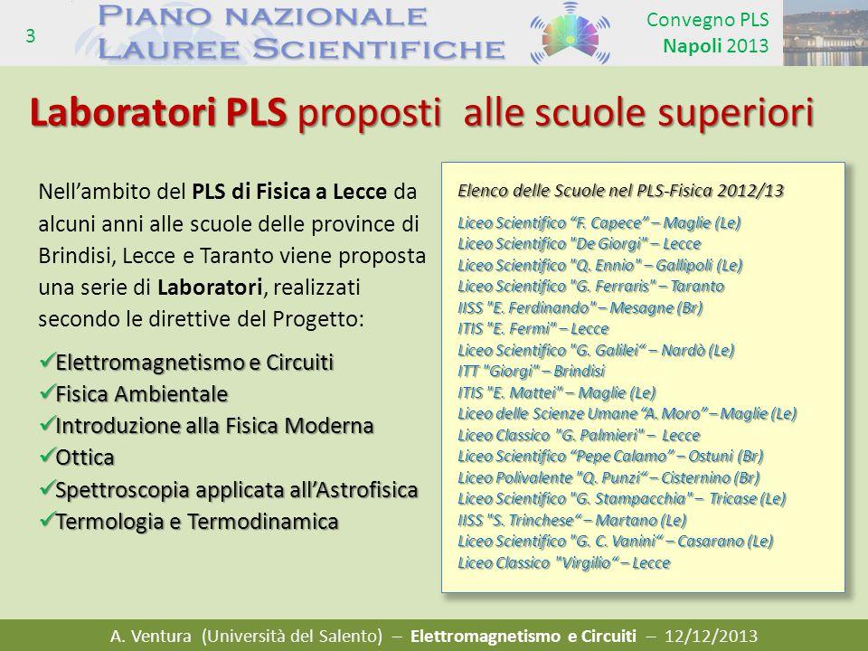 A. Ventura (Università del Salento) – Elettromagnetismo e Circuiti – 12/12/2013 Convegno PLS Napoli 2013 3 Laboratori PLS proposti alle scuole superio