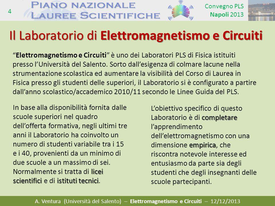 A. Ventura (Università del Salento) – Elettromagnetismo e Circuiti – 12/12/2013 Convegno PLS Napoli 2013 4 Il Laboratorio di Elettromagnetismo e Circu