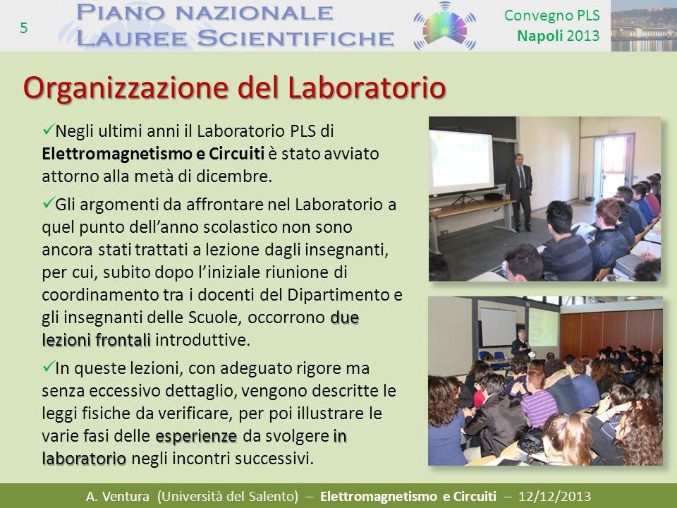 A. Ventura (Università del Salento) – Elettromagnetismo e Circuiti – 12/12/2013 Convegno PLS Napoli 2013 5 Negli ultimi anni il Laboratorio PLS di Ele