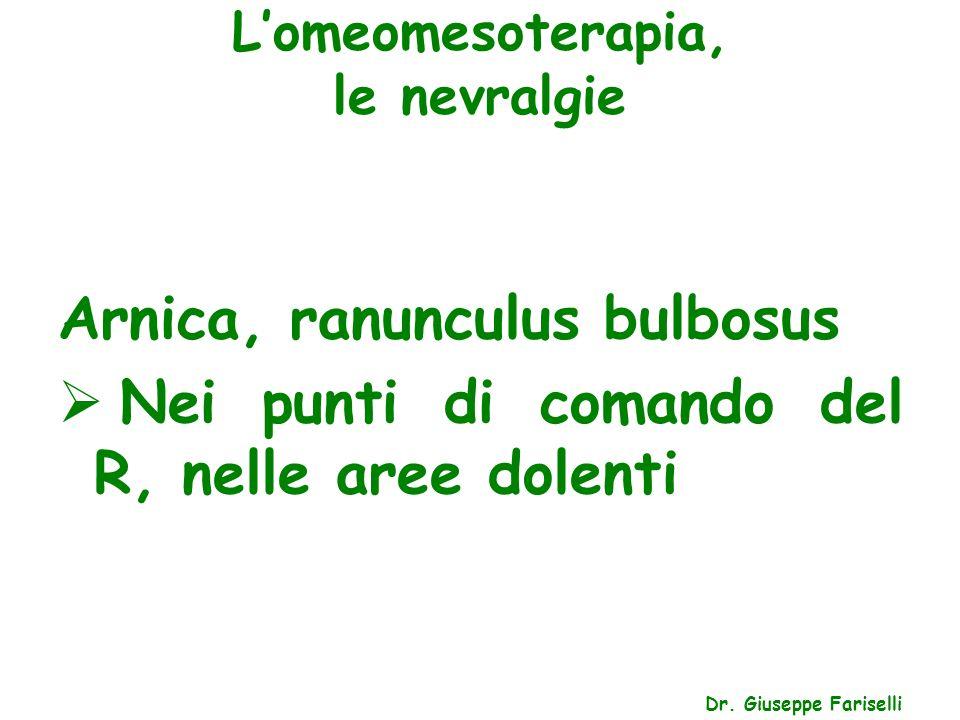 L'omeomesoterapia, le nevralgie Dr. Giuseppe Fariselli Arnica, ranunculus bulbosus  Nei punti di comando del R, nelle aree dolenti