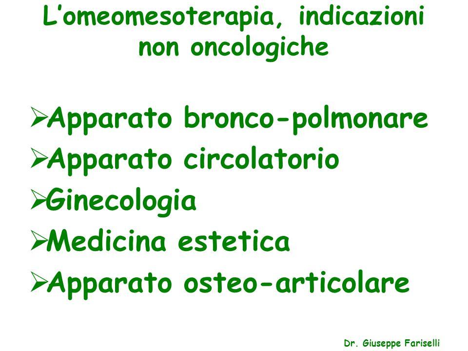 L'omeomesoterapia, indicazioni non oncologiche Dr. Giuseppe Fariselli  Apparato bronco-polmonare  Apparato circolatorio  Ginecologia  Medicina est