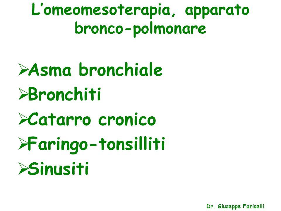 L'omeomesoterapia, apparato bronco-polmonare Dr. Giuseppe Fariselli  Asma bronchiale  Bronchiti  Catarro cronico  Faringo-tonsilliti  Sinusiti