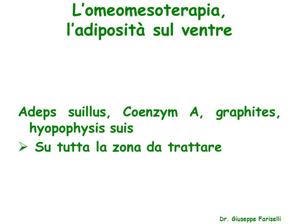 L'omeomesoterapia, l'adiposità sul ventre Dr. Giuseppe Fariselli Adeps suillus, Coenzym A, graphites, hyopophysis suis  Su tutta la zona da trattare