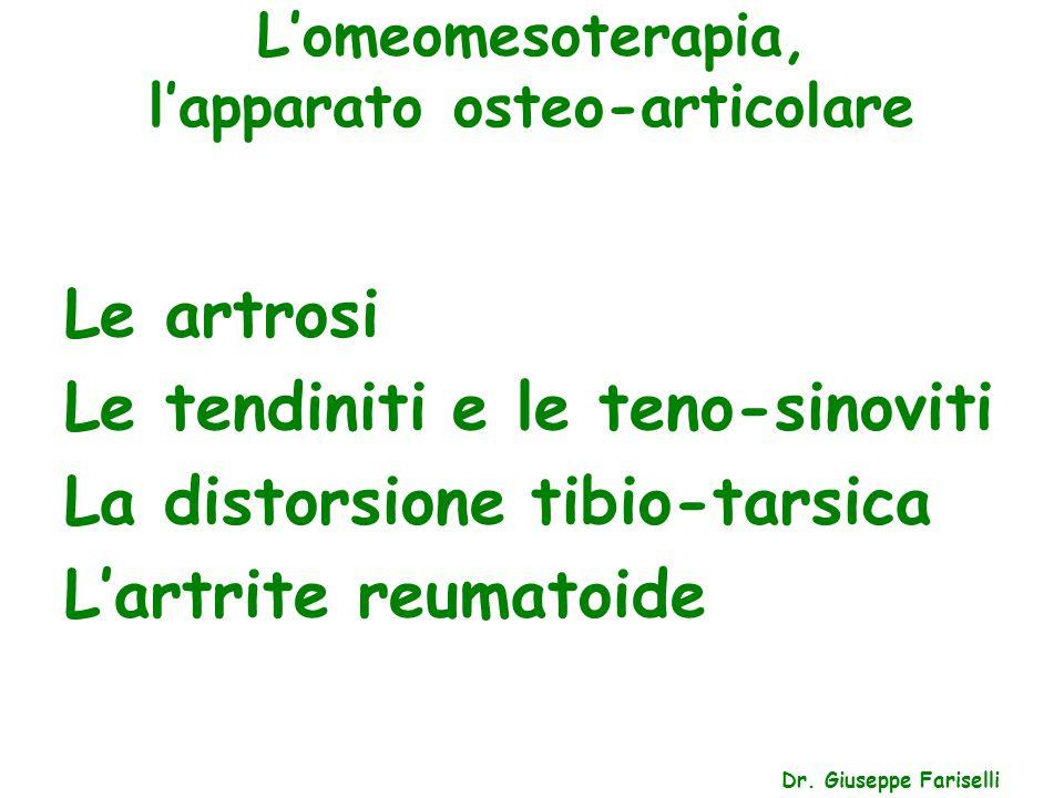 L'omeomesoterapia, l'apparato osteo-articolare Dr. Giuseppe Fariselli Le artrosi Le tendiniti e le teno-sinoviti La distorsione tibio-tarsica L'artrit