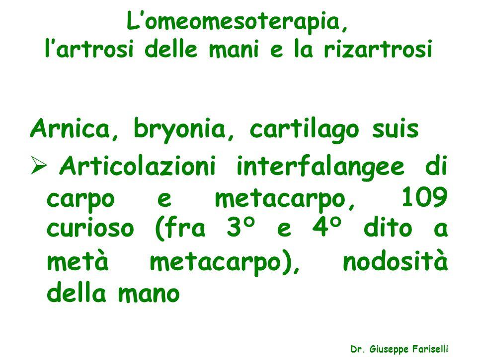 L'omeomesoterapia, l'artrosi delle mani e la rizartrosi Dr. Giuseppe Fariselli Arnica, bryonia, cartilago suis  Articolazioni interfalangee di carpo