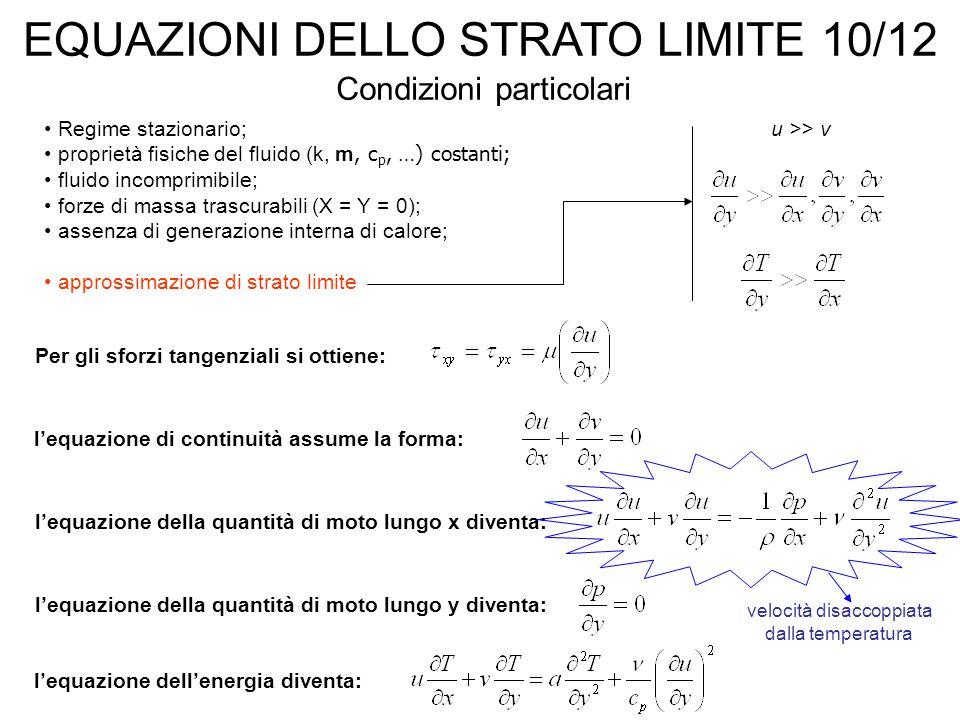 EQUAZIONI DELLO STRATO LIMITE 10/12 Regime stazionario; proprietà fisiche del fluido (k, m, c p, …) costanti; fluido incomprimibile; forze di massa trascurabili (X = Y = 0); assenza di generazione interna di calore; approssimazione di strato limite Condizioni particolari u >> v Per gli sforzi tangenziali si ottiene: l'equazione di continuità assume la forma: l'equazione della quantità di moto lungo x diventa: l'equazione della quantità di moto lungo y diventa: velocità disaccoppiata dalla temperatura l'equazione dell'energia diventa: