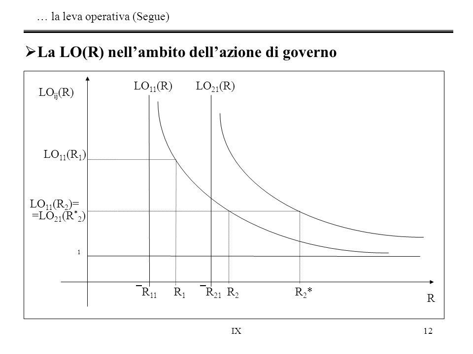 IX12  La LO(R) nell'ambito dell'azione di governo LO 1 (R 2 ) LO 1 (R a ) LO ij (R) R  R 21 R1R1  R 11 R2*R2*R2R2 LO 21 (R)LO 11 (R) 1 LO 11 (R 1 )