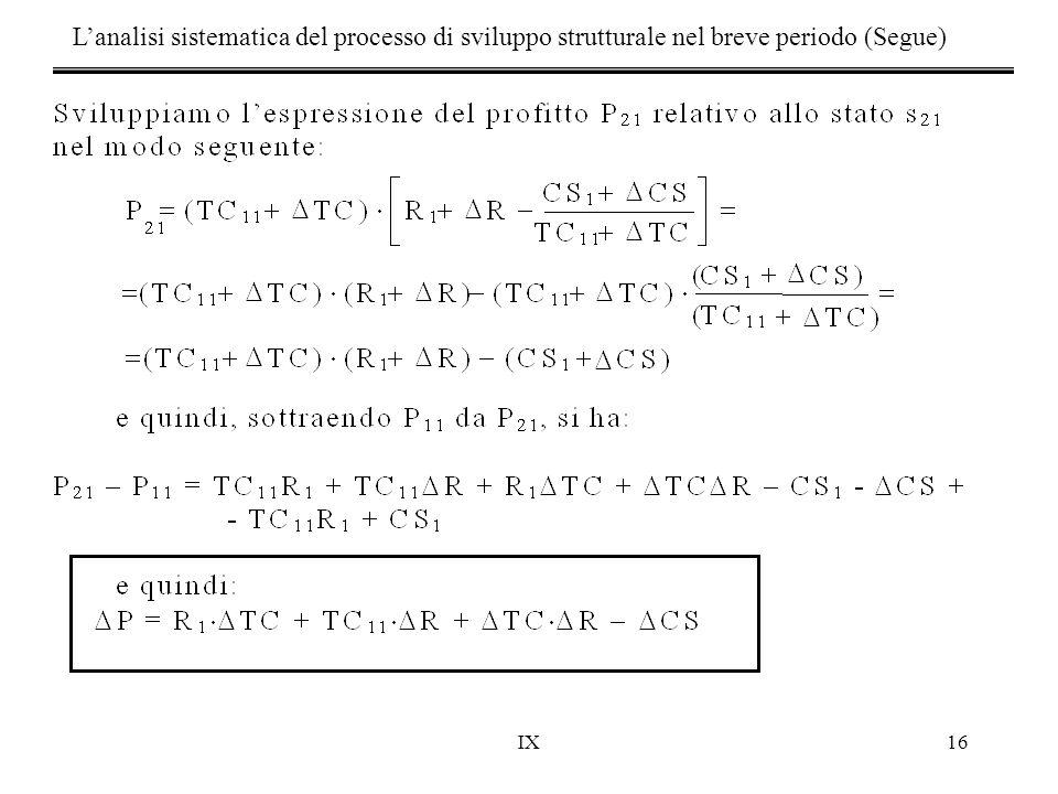 IX16 L'analisi sistematica del processo di sviluppo strutturale nel breve periodo (Segue)