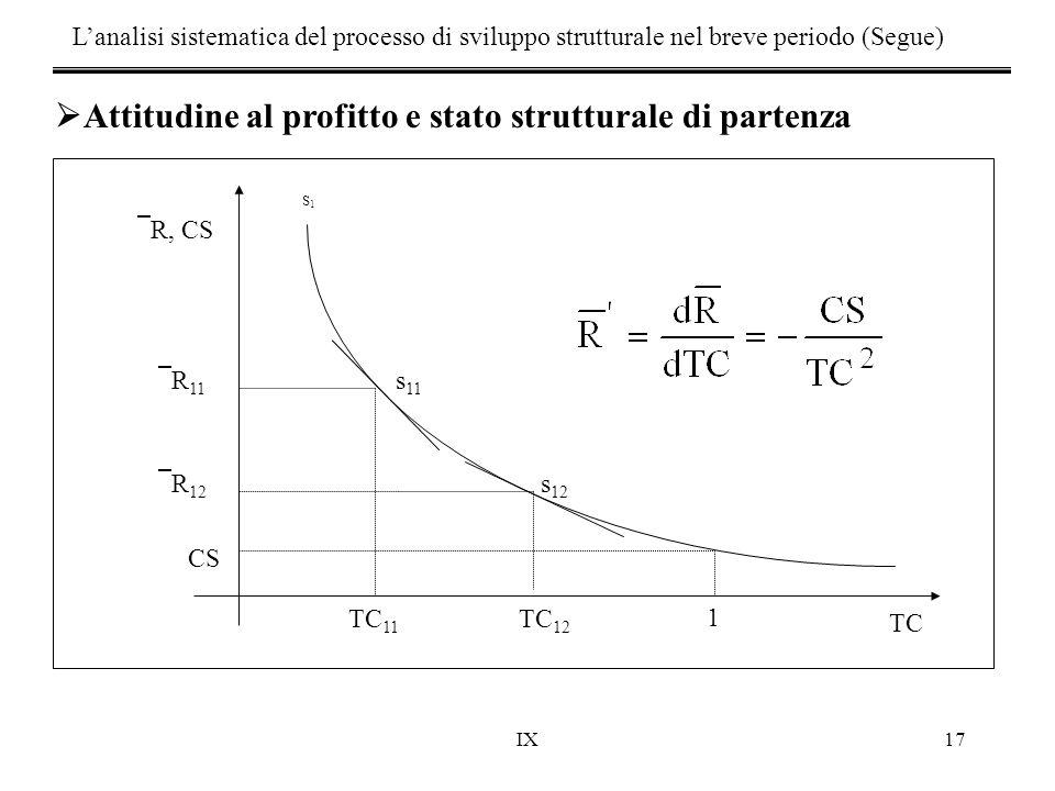 IX17 TC  R 11 CS  R 12 1 s 12 s 11 TC 11 TC 12 S1S1  R, CS  Attitudine al profitto e stato strutturale di partenza L'analisi sistematica del proce