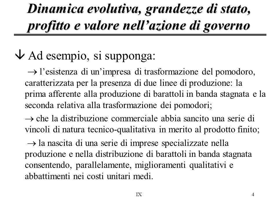 IX4 â Ad esempio, si supponga:  l'esistenza di un'impresa di trasformazione del pomodoro, caratterizzata per la presenza di due linee di produzione: