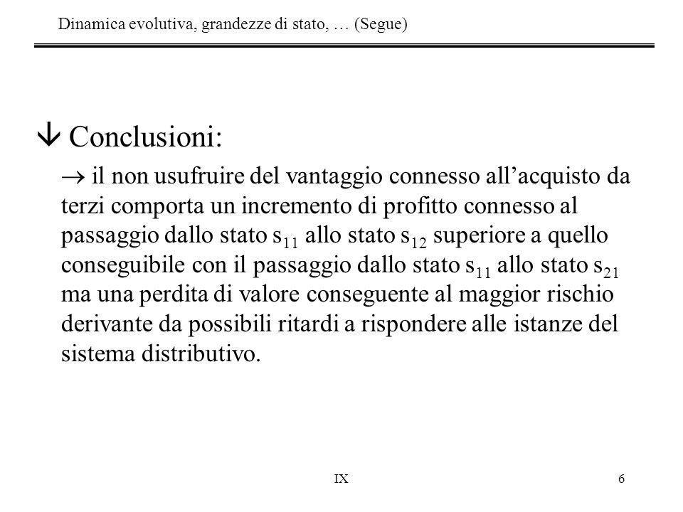 IX6 â Conclusioni:  il non usufruire del vantaggio connesso all'acquisto da terzi comporta un incremento di profitto connesso al passaggio dallo stat