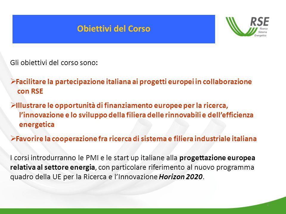 2 Gli obiettivi del corso sono:  Facilitare la partecipazione italiana ai progetti europei in collaborazione con RSE  Illustrare le opportunità di finanziamento europee per la ricerca, l'innovazione e lo sviluppo della filiera delle rinnovabili e dell'efficienza energetica  Favorire la cooperazione fra ricerca di sistema e filiera industriale italiana I corsi introdurranno le PMI e le start up italiane alla progettazione europea relativa al settore energia, con particolare riferimento al nuovo programma quadro della UE per la Ricerca e l'Innovazione Horizon 2020.