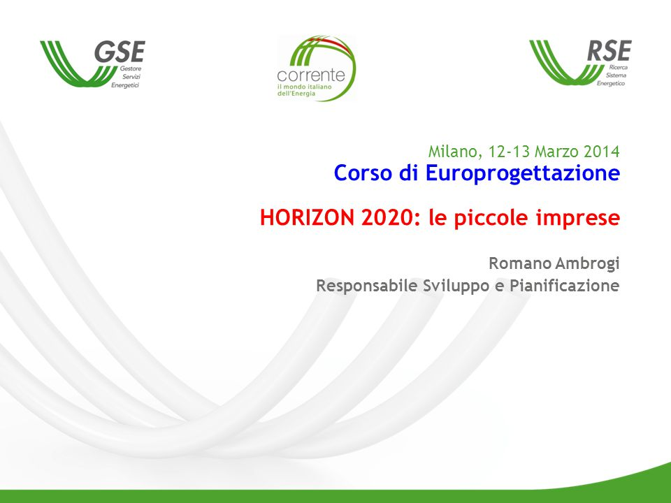 10 Table 1: Rights and Obligations of the Partners Tipi specifici di Azione – SME Instrument SME : Definizione