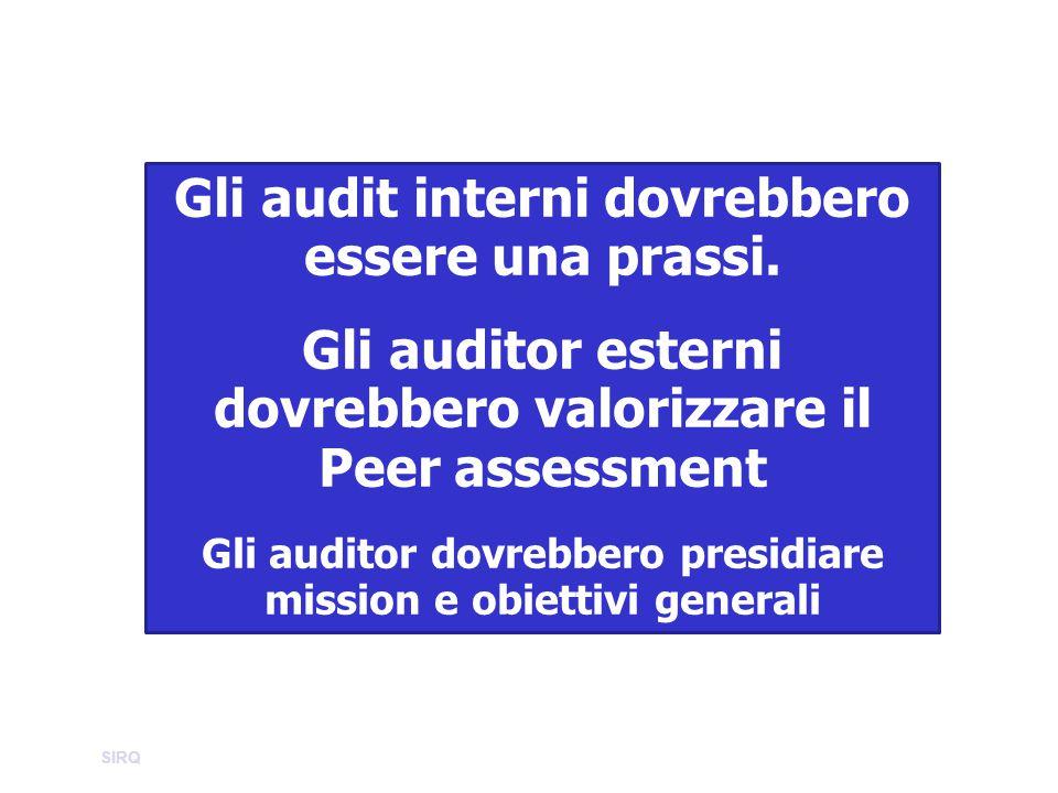 Gli audit interni dovrebbero essere una prassi. Gli auditor esterni dovrebbero valorizzare il Peer assessment Gli auditor dovrebbero presidiare missio