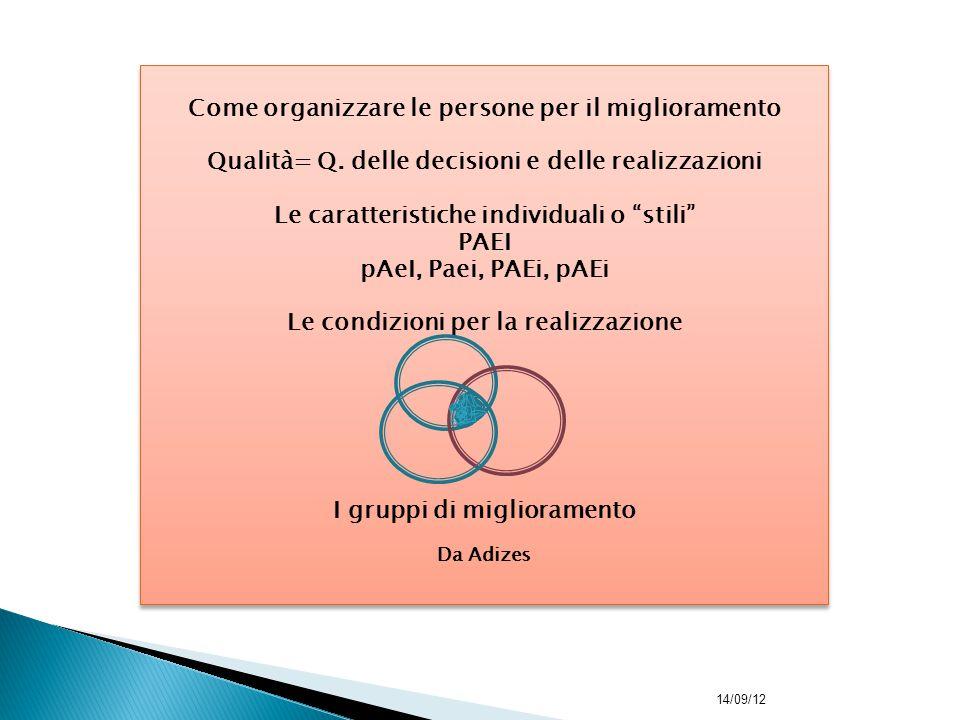 """Come organizzare le persone per il miglioramento Qualità= Q. delle decisioni e delle realizzazioni Le caratteristiche individuali o """"stili"""" PAEI pAeI,"""