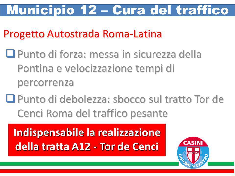 Municipio 12 – Cura del traffico Progetto Autostrada Roma-Latina  Punto di forza: messa in sicurezza della Pontina e velocizzazione tempi di percorre