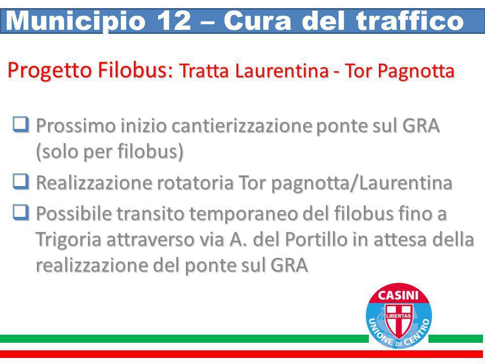 Municipio 12 – Cura del traffico Progetto Filobus: Tratta Laurentina - Tor Pagnotta  Prossimo inizio cantierizzazione ponte sul GRA (solo per filobus