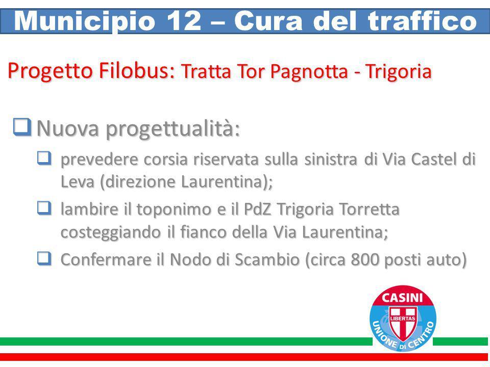 Municipio 12 – Cura del traffico Progetto Filobus: Tratta Tor Pagnotta - Trigoria  Nuova progettualità:  prevedere corsia riservata sulla sinistra d