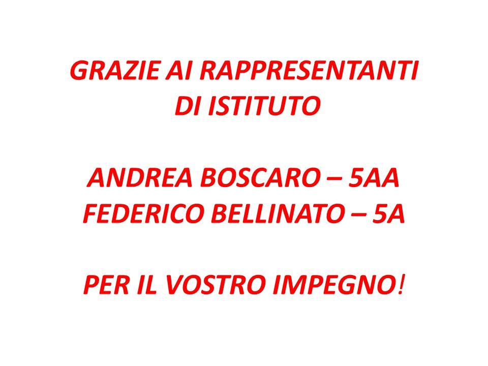 GRAZIE AI RAPPRESENTANTI DI ISTITUTO ANDREA BOSCARO – 5AA FEDERICO BELLINATO – 5A PER IL VOSTRO IMPEGNO!
